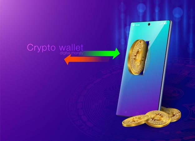 Carteira criptografada para transferência de dinheiro com smartphone