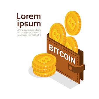 Carteira de bitcoins sobre o fundo branco com conceito cripto da moeda do dinheiro digital moderno do espaço da cópia