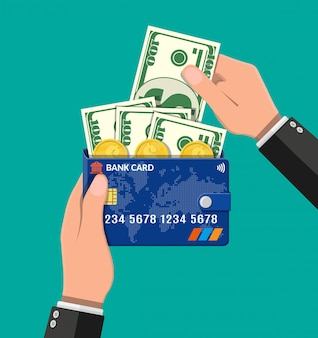Carteira de cartão de banco com notas e moedas de dólar