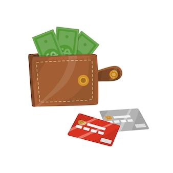 Carteira de couro aberta com dinheiro e cartões de crédito