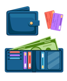 Carteira de couro azul com cartões e carteira aberta e fechada