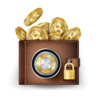 Carteira de couro bitcoin
