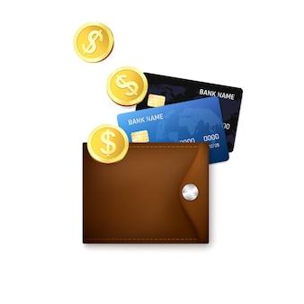 Carteira de couro com cartões de crédito e moedas de ouro