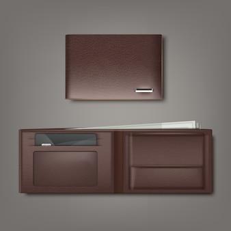 Carteira de couro natural marrom fechada e aberta com dinheiro e cartão de crédito isolado em fundo cinza