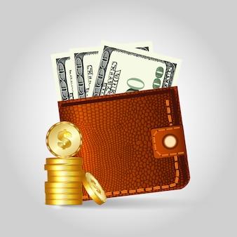 Carteira de couro realista com dólares e moedas.