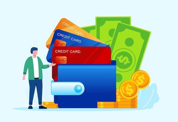 Carteira de dinheiro ganhando conceito ilustração vetorial plana de pagamento on-line para banner e página de destino