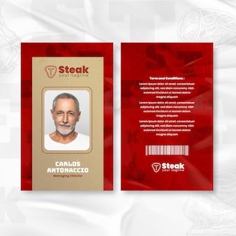 Carteira de identidade do diretor administrativo da churrascaria