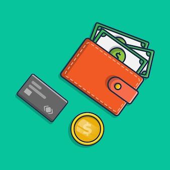 Carteira de ilustração de ícone financeiro contém dinheiro de cartão de débito e moedas de ouro