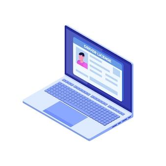 Carteira de motorista de carro; cartão de identificação no laptop.