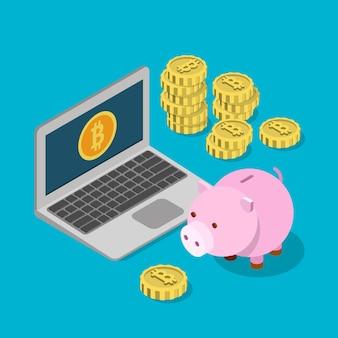Carteira de poupança de caixa de dinheiro bitcoin isométrica plana