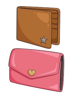Carteira e bolsa dos desenhos animados