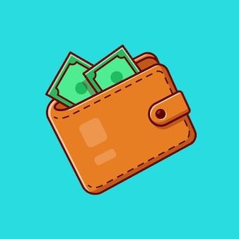 Carteira e desenho animado do dinheiro