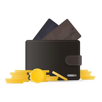 Carteira marrom com moedas. carteira masculina com moedas de ouro em 3d. isolado em um fundo branco. vetor.
