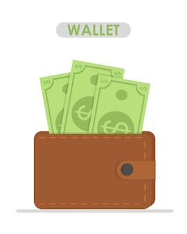 Carteira marrom com papel-moeda verde carteira com design plano de notas de dólares em dinheiro