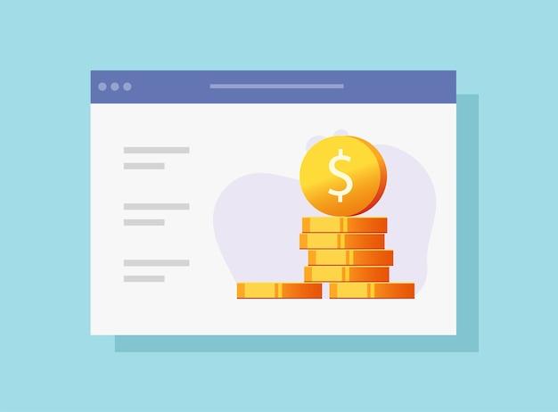 Carteira online de dinheiro digital da web com ícone de site de lista de verificação de ganhos
