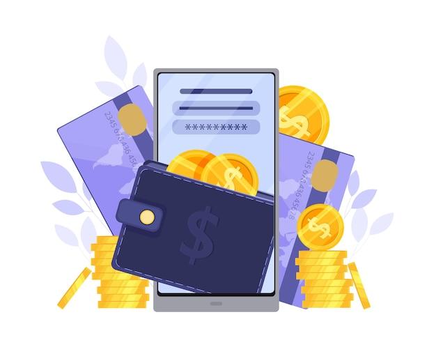 Carteira online ou conceito de pagamento digital com tela do smartphone, cartões de crédito, moedas de dólar.