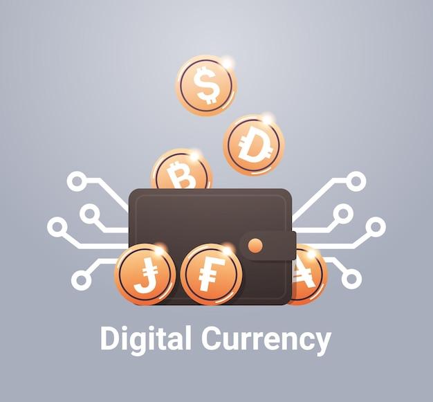 Carteira virtual com conceito de moeda digital de tecnologia blockchain de criptomoeda de moedas de ouro