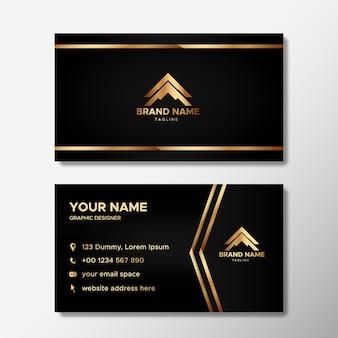 Carteiras de identidade empresarial de luxo em preto e dourado