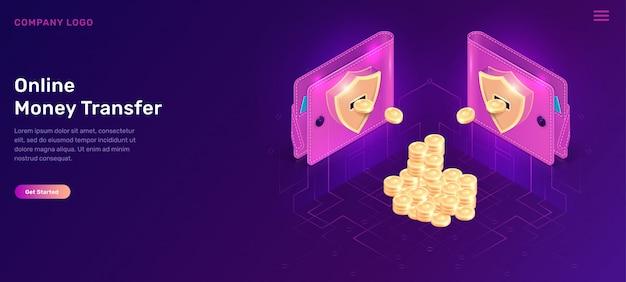 Carteiras isométricas de transferência de dinheiro online com moedas