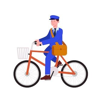 Carteiro andando de bicicleta em seu trabalho ilustração plana dos desenhos animados