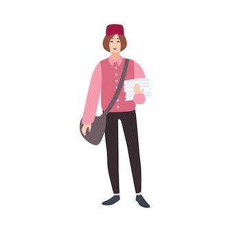Carteiro, carteiro, carteiro ou carteiro, carteiro, mensageiro com mala e jornais. personagem de desenho animado masculino isolado no fundo branco. ilustração vetorial colorida em estilo simples.