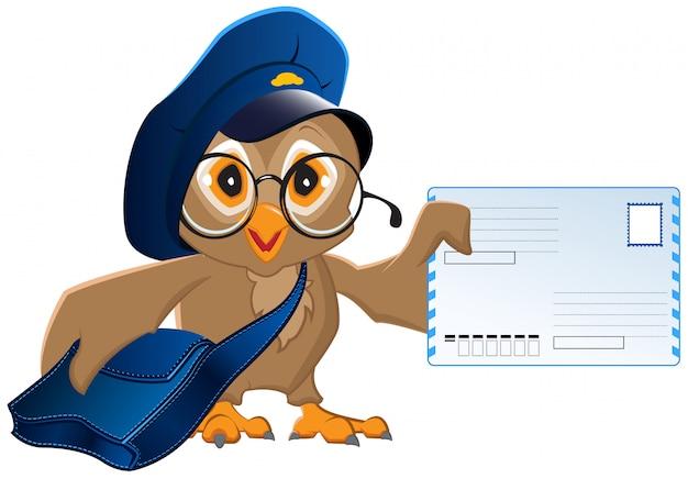 Carteiro coruja trouxe uma carta