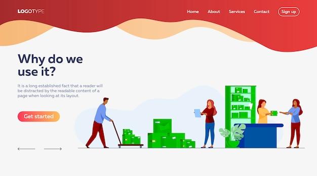 Carteiro dando parcela ao cliente no modelo de página de destino dos correios