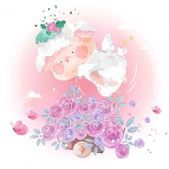 Carteiro de ovelha pequeno bonito com um arbusto de flor bonita no céu brilhante.