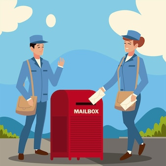 Carteiro do serviço postal e caixa de correio feminina envelopes ilustração de rua da cidade