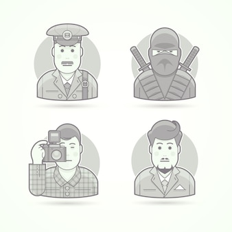 Carteiro, guerreiro ninja, fotógrafo, ícones de homem de negócios. conjunto de ilustrações de retrato de personagem. estilo descrito preto e branco.