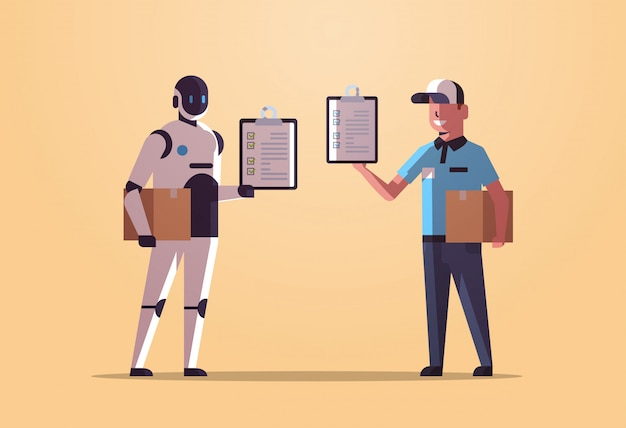 Carteiro robótico com correio de homem segurando caixas de encomendas recebendo formulários robô vs humano em pé juntos serviço de entrega serviço de inteligência artificial tecnologia conceito apartamento comprimento total horizontal