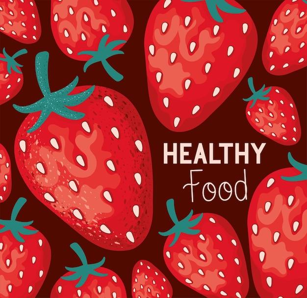 Cartel de comida saudável com morangos