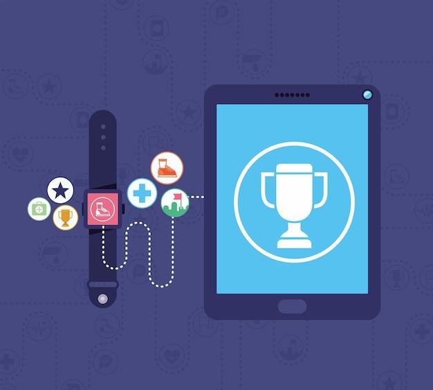 Cartel de dispositivos de saúde com aplicativos