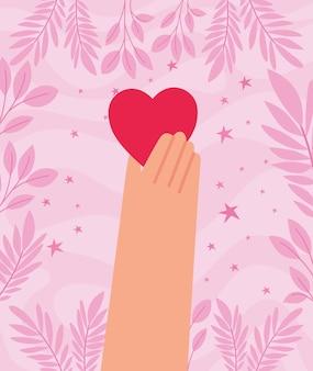 Cartel de mão adorável com coração