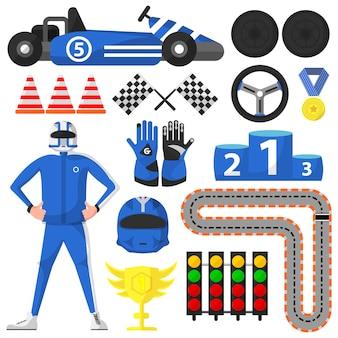 Carting rally car e coleção de símbolos de vitória