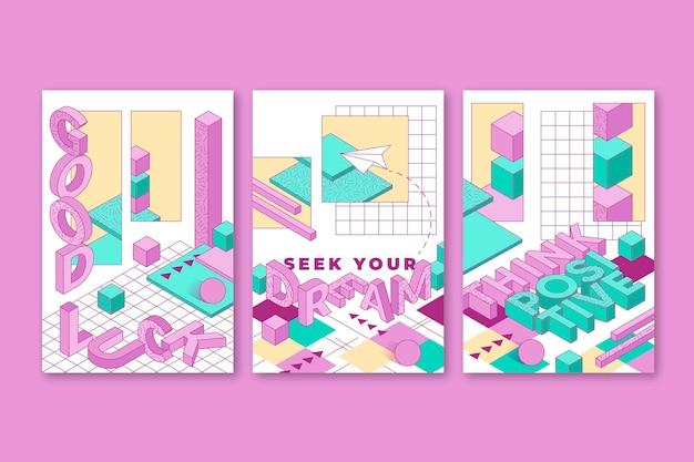 Cartões 3d lineares estéticos