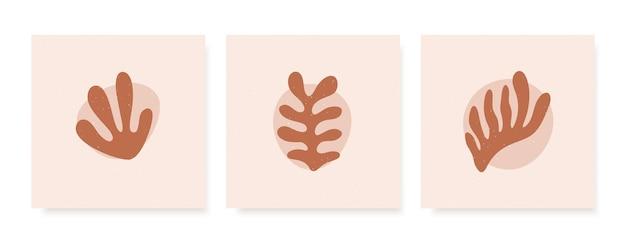 Cartões abstratos com formas orgânicas