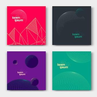 Cartões abstratos com planeta gráfico de linha ou esfera. planos de fundo do espaço. vetor