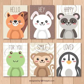 Cartões animais bonitos
