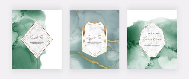 Cartões aquarela com tinta álcool verde e molduras geométricas de mármore