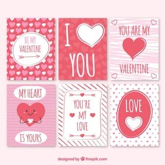 Cartões bonito do valentim vermelho e branco