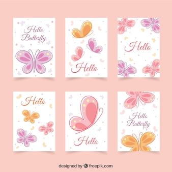 Cartões bonitos com borboletas em cores pastel
