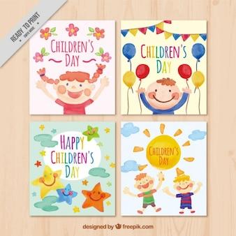 Cartões bonitos da aguarela de dia das crianças Vetor grátis