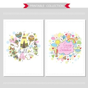 Cartões bonitos desenhados à mão com diferentes elementos - conjunto de modelos imprimíveis