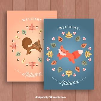 Cartões bonitos do outono com raposa e esquilo