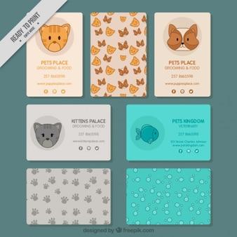 Cartões bonitos para uma loja de animais