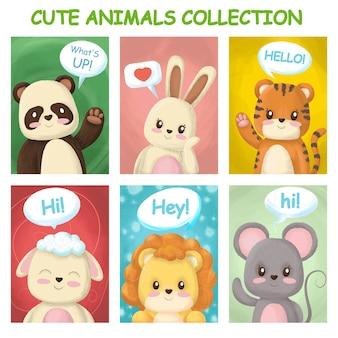 Cartões brilhantes com animais fofos
