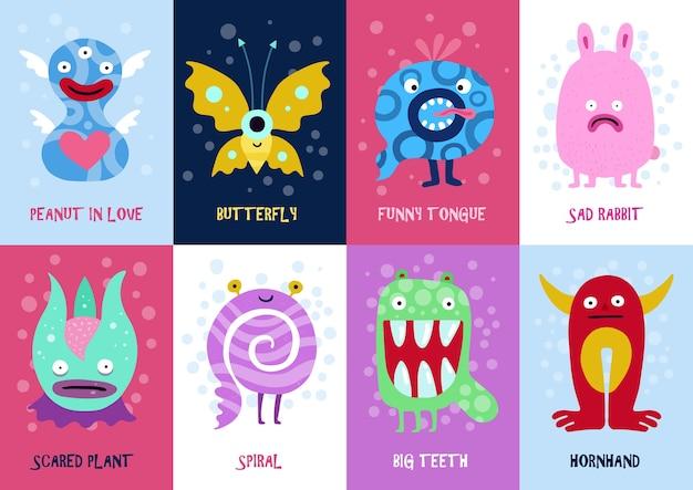 Cartões coloridos de monstros engraçados com uma planta espiralada