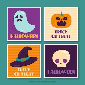 Cartões coloridos do dia das bruxas