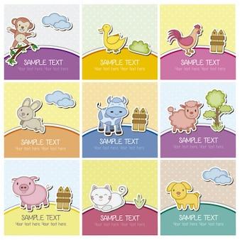Cartões com animais de fazenda